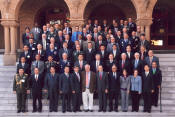 Participants of the Pacific Rim Security – Managing the Global Commons conference pose for a group photo between sessions.