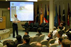 General Lance W. Lord, commander of U.S. Air Force Space Command addresses APCSS Fellows.