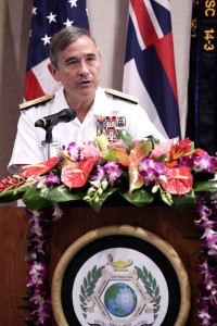 Commander of U.S. Pacific Command Adm. Harry Harris, Jr., provides remarks at today's 20th Anniversary celebration of the Daniel K. Inouye Asia-Pacific Center for Security Studies. Harris paid tribute to the Center's contributions to regional security.